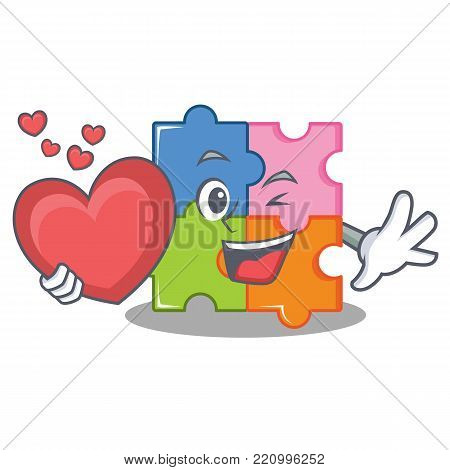 With heart puzzle mascot cartoon style vector illustration