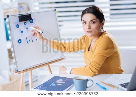 Important diagrams. Clever attentive busy woman sitting in her comfortable office and looking tired while working with very important informative diagrams