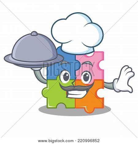 Chef with food puzzle mascot cartoon style vector illustration
