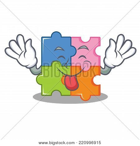Tongue out puzzle mascot cartoon style vector illustration