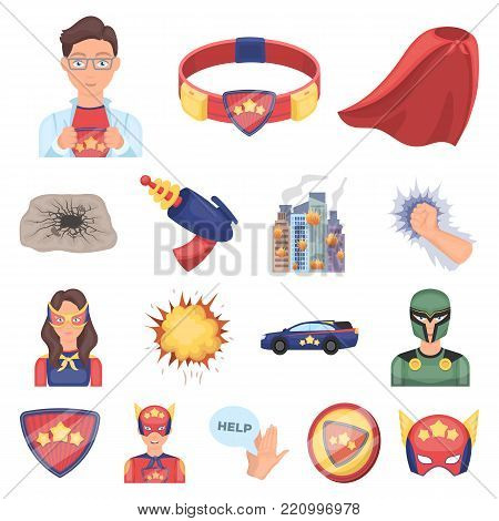 A fantastic superhero cartoon icons in set collection for design. Superhero's equipment vector symbol stock  illustration.