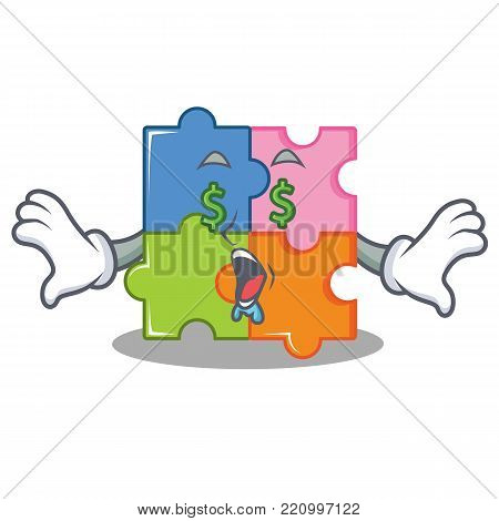 Money eye puzzle mascot cartoon style vector illustration