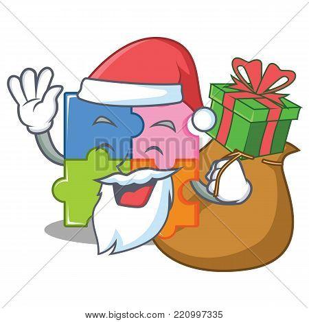 Santa wiith gift puzzle mascot cartoon style vector illustration