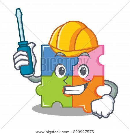 Automotive puzzle mascot cartoon style vector illustration