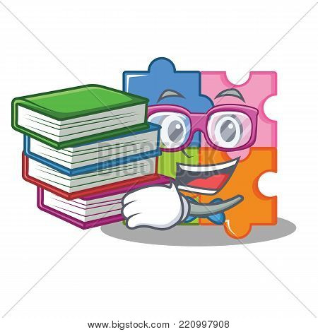 Student with book puzzle mascot cartoon style vector illustration