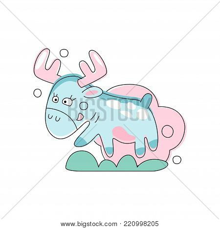 Hand drawn illustration of cute pink moose jumping on green grass. Forest animal in linear style. Cartoon flat vector design for baby shower card, t-shirt print or sticker. Concept for children book.