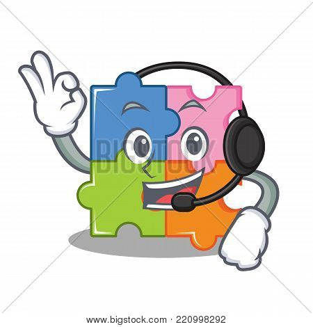 With headphone puzzle mascot cartoon style vector illustration