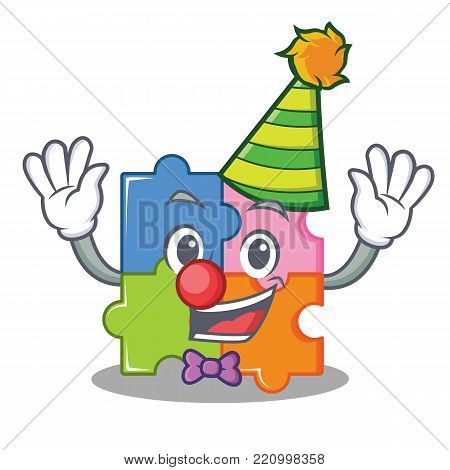 Clown puzzle mascot cartoon style vector illustration