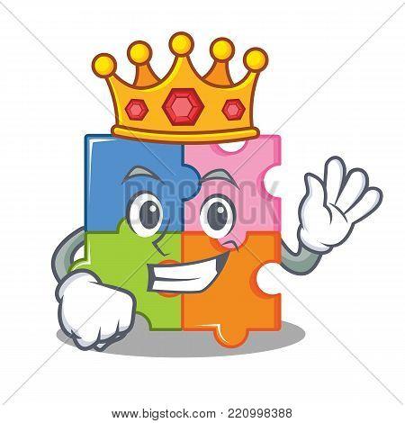 king puzzle mascot cartoon style vector illustration