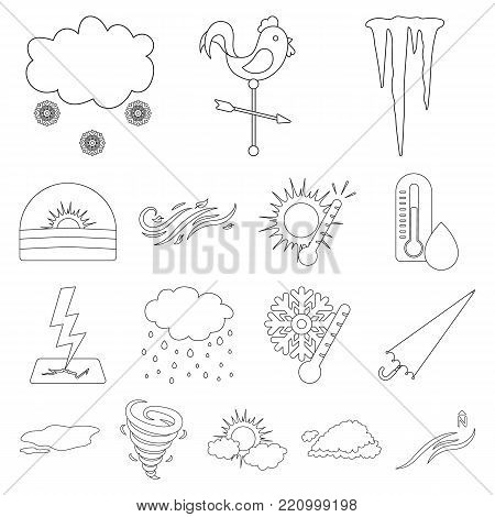 Different weather outline icons in set collection for design.Signs and characteristics of the weather vector symbol stock  illustration.
