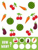 Counting Game for Preschool Children. Educational a mathematical game. Count how many fruits, vegetables and write the result! Mathematics task. Learning mathematics, numbers. poster