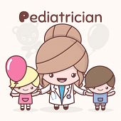 Cute chibi kawaii characters. Alphabet professions. The Letter P - Pediatrician. Flat cartoon style poster