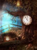3D render illustration of an enchanting Clock Tree Time fantasy scenario in a forest poster