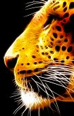 Artistic neon isolated close-up image of side profile of Leopard face poster