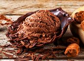 Artisan chocolate ice cream with cocoa and chocolate scrapings. poster