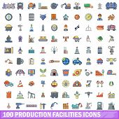 100 production facilities icons set. Cartoon illustration of 100 production facilities vector icons isolated on white background poster