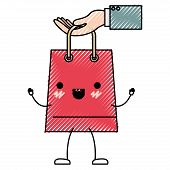 hand holding a trapezoid kawaii animated shopping bag in colored crayon silhouette vector illustration poster
