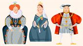 History of England. Queen Elizabeth I, King Henry VIII, Queen Victoria. Vector illustration. poster