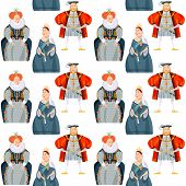 History of England. Queen Elizabeth I, King Henry VIII, Queen Victoria. Seamless background pattern. Vector illustration poster