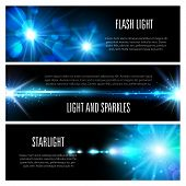 Light effect banner set with blue shine of light flash, glare of sun and star, glow of bright ray with glitter, sparkles, lens flare and bokeh. Christmas holiday invitation or space themes design poster