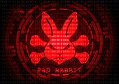 Abstract background Bad rabbit Bad rabbit ransomware malware virus threat. Vector illustration KRACK in wifi cyber security infographic concept. poster