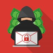 Thief hacker locked victim computer laptop for ransom with ransomware malware virus computer with banknote background. Vector illustration cybercrime technology data privacy and security concept. poster