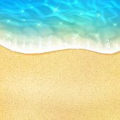 Ocean beach wave on sand or sea shore with water froth tide. Vector 3D realistic design of sun light sparkling reflection on water wave for summer travel or holiday vacation relax resort poster poster