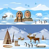 Wild north arctic people in traditional eskimos costume and arctic animals. Reindeer, polar day and polar night. Extreme journey to Alaska. Life in the far north poster