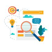 SEO, search engine optimization, keyword research, market research flat vector illustration. SEO concept. Web site coding, internet searching optimization design for mobile and web graphics poster