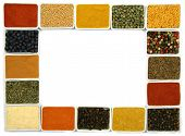 Colorful spices in rectangular ceramic containers - beautiful kitchen frame. poster