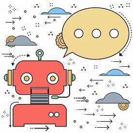 Vector flat line doodle chatbot robot creative design. Vector illustration Chatbots AI artificial intelligence technology concept.
