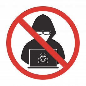 Stop hacker forbidden signal icon on white background. Vector illustration cybercrime technology data privacy and security concept.
