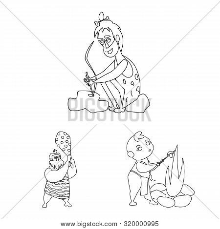Vector Design Of Primitive And Archeology Symbol. Set Of Primitive And History Stock Vector Illustra