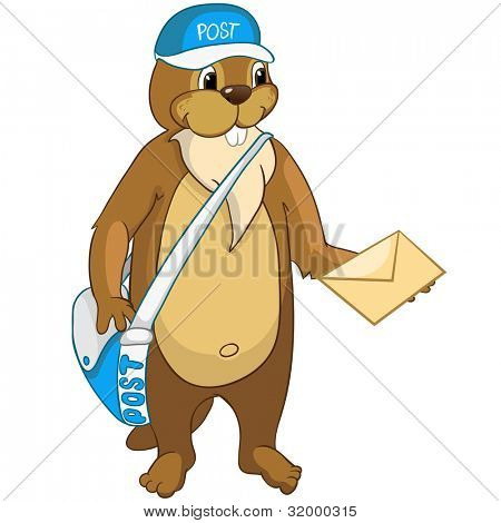 Cartoon Character Funny Beaver Isolated on White Background. Vector