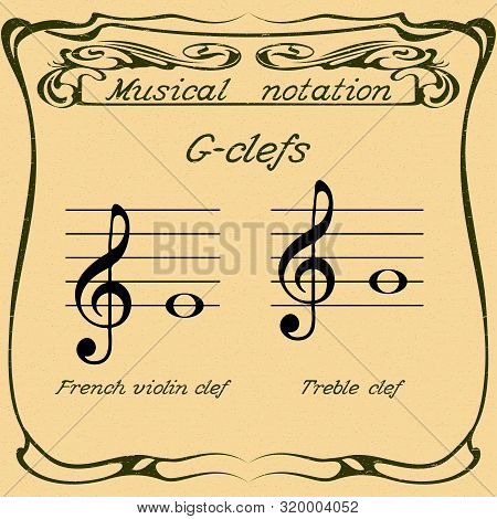 G-clefs.  French Violin Clef And Treble Clef. Vector.