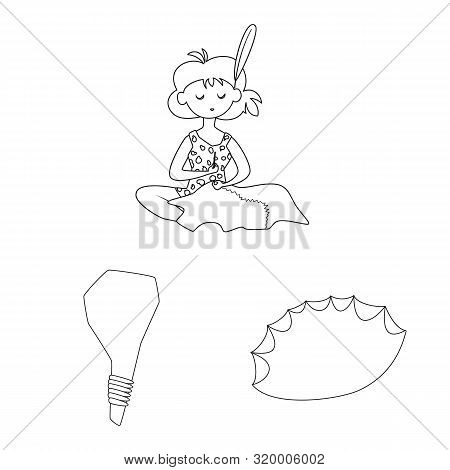 Vector Design Of Primitive And Archeology Sign. Set Of Primitive And History Stock Vector Illustrati