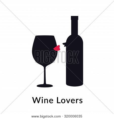 Wine Lovers. Vector Illustration Of Wineglass And Bottle In Love. Flat Black Silhouette. Wine Testin