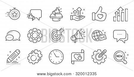 Brand Social Project Line Icons. Business Strategy, Megaphone And Representative. Influence Campaign