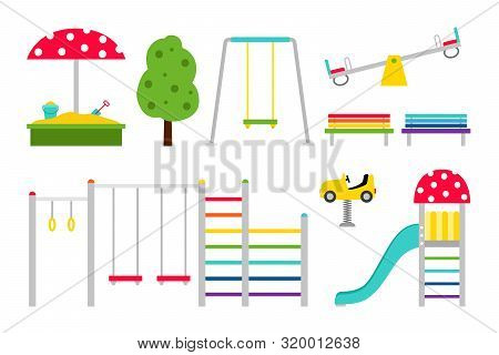 Playground Equipment. Vector Outdoor Kids Playgrounds Color Icons, Cartoon Children Recreation Park