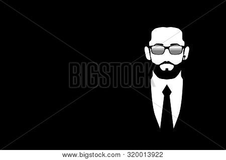Man In Black Suit And Sunglasses. Symbol Safety. Bodyguard, Security, Face Control, Bouncer. Isolate