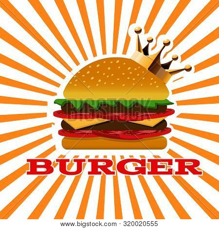 King Burger Yellow Banner  For Your Design  Eps 10 Vector