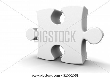 3D Puzzle Piece In White