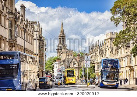 6 June 2019: Oxford, Uk - Double Decker Buses In Busy Queens Lane, Oxford, On A Bright Summer Day.