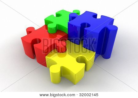 3D Puzzle Pieces Interlocking