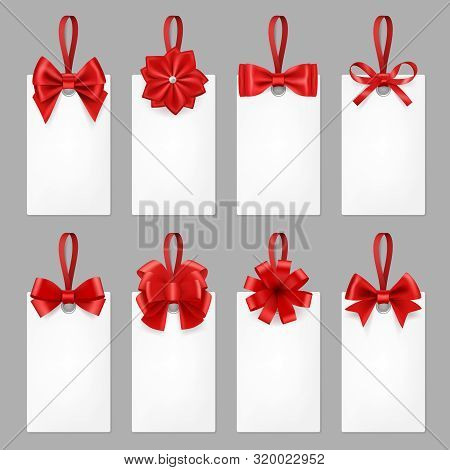 Gift Cards With Ribbons. Tags With Textile Bow From Elegant Silk Ribbon For Present Vector Realistic