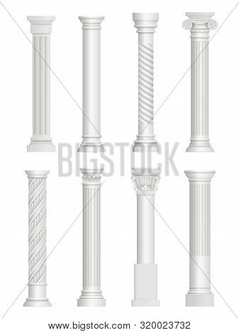 Antique Pillars. Baroque Column For Facade Roman Architectural Style Vector Realistic Collection. Ar