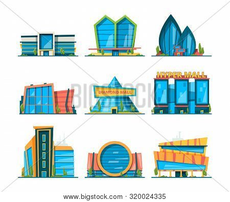Mall Flat. Big Urban Store Buildings Hypermarket Shopping Houses Vector Collection. Collection Of Hy