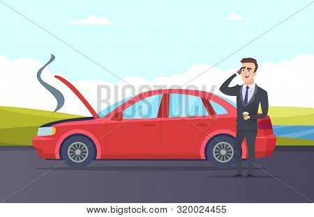 Car Breakdown. Road Assistance Cartoon Illustration. Vector Businessman Need Car Repair Service. Bre