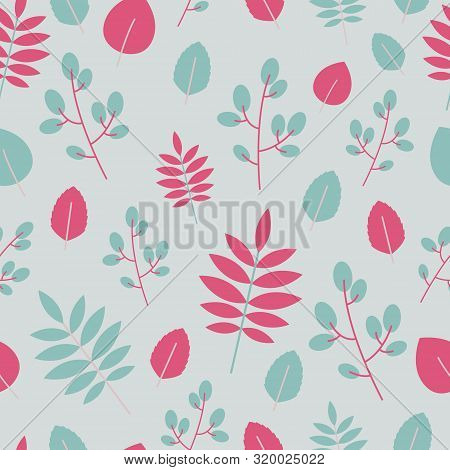 Pink And Blue Leaves Pattern On Grey Background, Design For Print In Flat Style