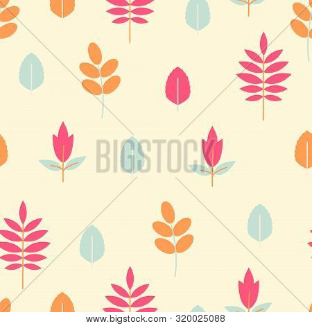 Vintage Flat Botanical Pattern For Child. Vector Floral Print With Leaves